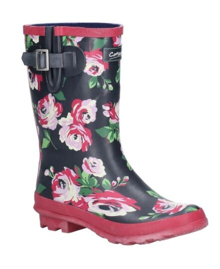 Cotswold Paxford Mid Calf Wellies Black Flower