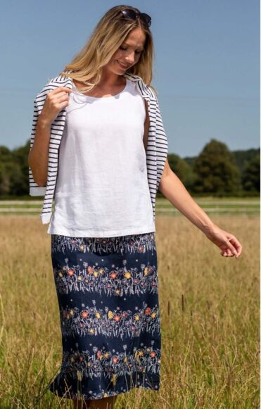 Lily and Me Pebble Skirt Floral Stripe Navy