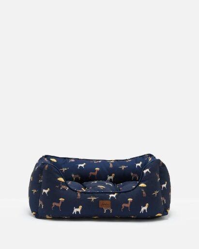Joules Percher Square Pet Bed Coastal Dog Print