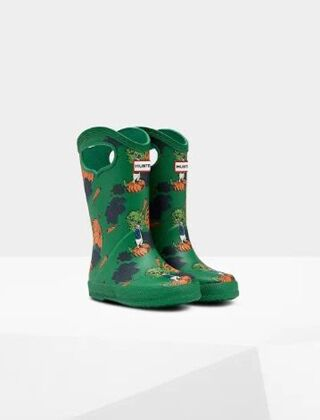 Hunter Kids First Grab Handle Peter Rabbit Wellies Sea Fern Green