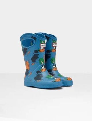 Hunter Kids First Grab Handle Peter Rabbit Wellies Jacket Blue