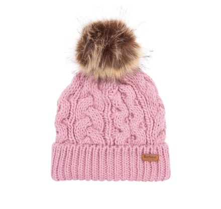 Barbour Penshaw Cable Beanie Hat Pink