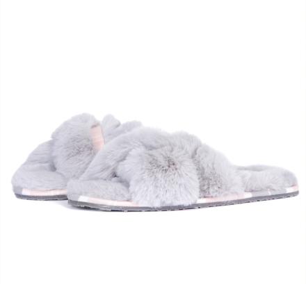 Barbour Lottie Slippers Grey/Pink Tartan