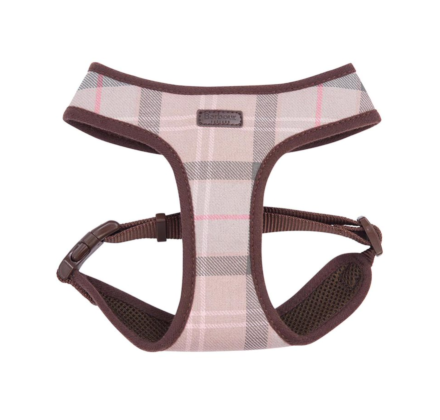 Barbour Tartan Dog Harness Taupe/Pink