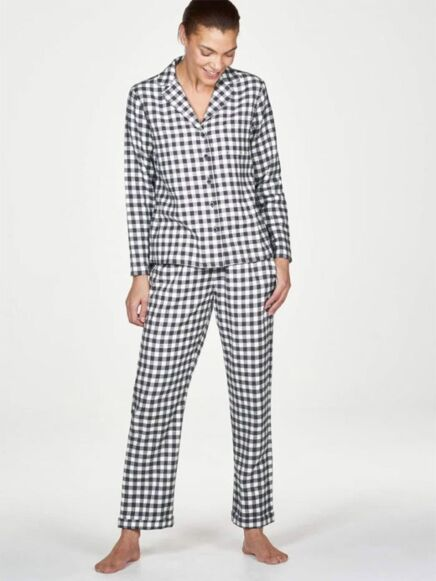 Thought Mae GOTS Yarn Dye Check Pyjama Set Graphite Grey