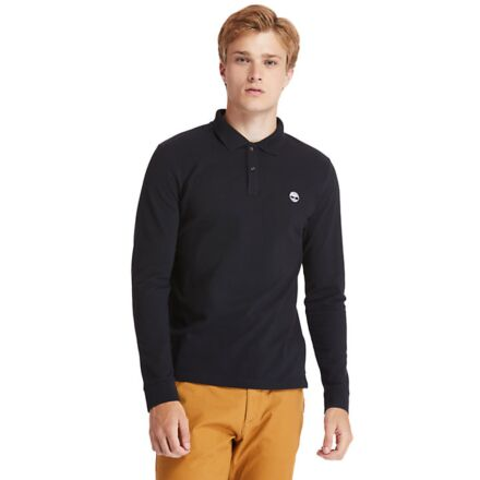 Timberland Long Sleeve Millers River Pique Slim Polo Black