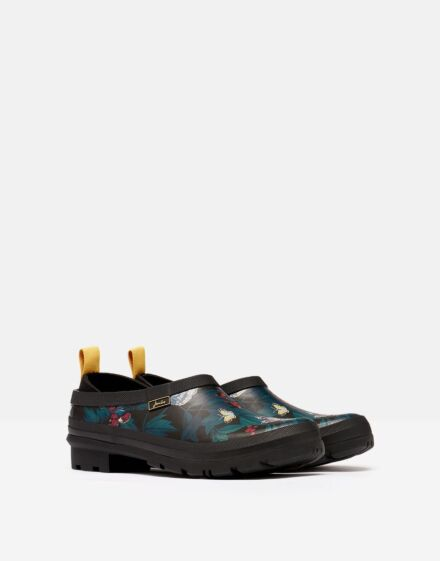 Joules Pop On Printed Welly Clogs Black Butterfly