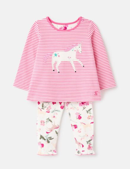 Joules Poppy Applique Set Pink Unicorn