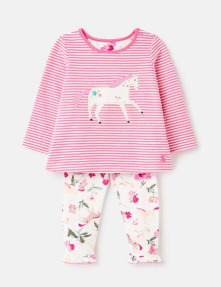 Joules Poppy Applique Set Pink Unicorn
