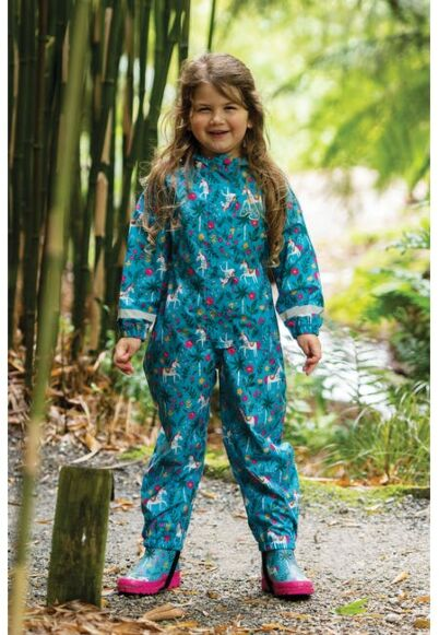 Frugi Rain or Shine Suit Teal Indian Horse