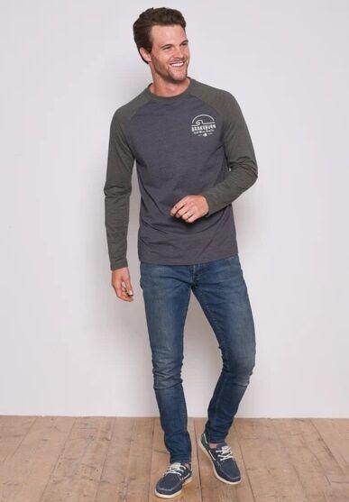 Brakeburn Raglan Long Sleeve Top Grey