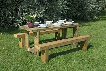 Forest Gardens Refectory Table and Sleeper Bench 1.8m