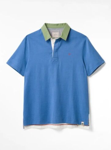 White Stuff Ripley Mix Organic Rugby Polo Shirt Blue