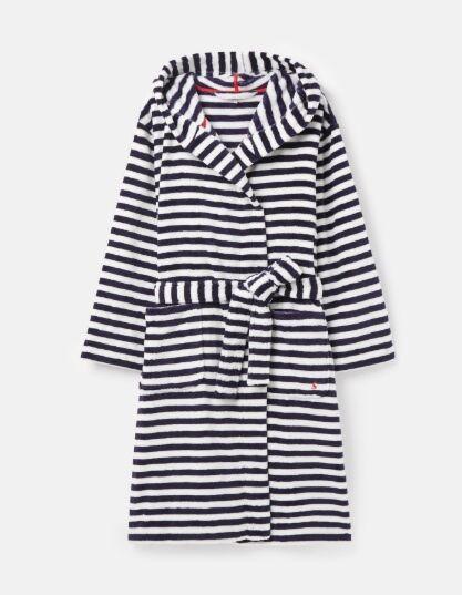 Joules Rita Fluffy Dressing Gown Blue Cream Stripe