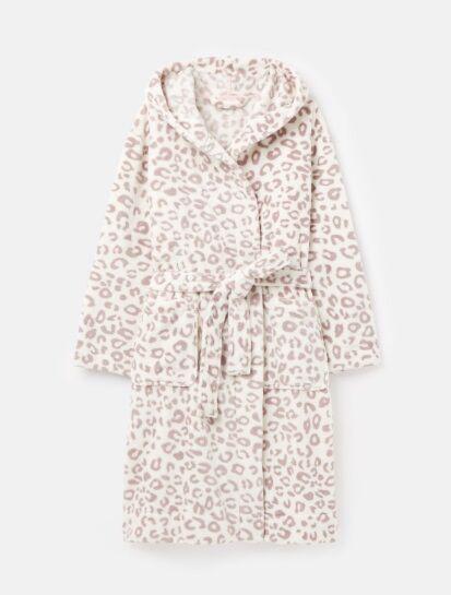 Joules Rita Fluffy Dressing Gown Cream Grey Leopard