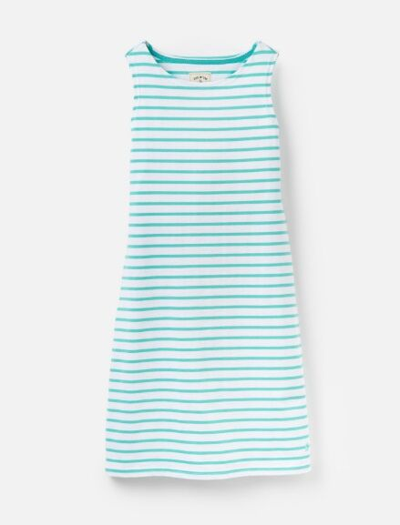 Joules Riva Sleeveless Jersey Dress Turquoise White Stripe