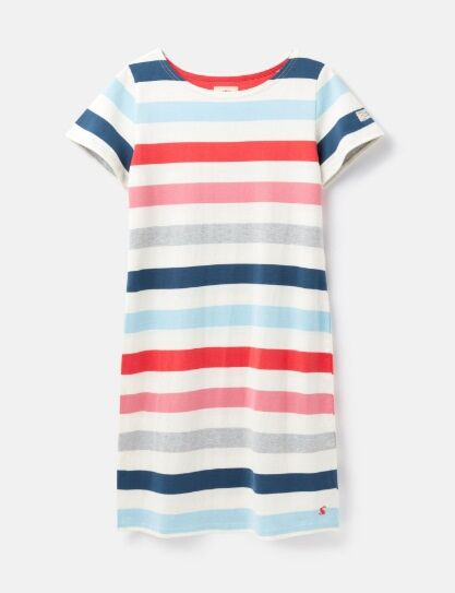 Joules Riviera Short Sleeve Printed Dress Cream Pink Stripe