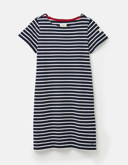 Joules Riviera Short Sleeve Printed Dress Navy Cream Stripe