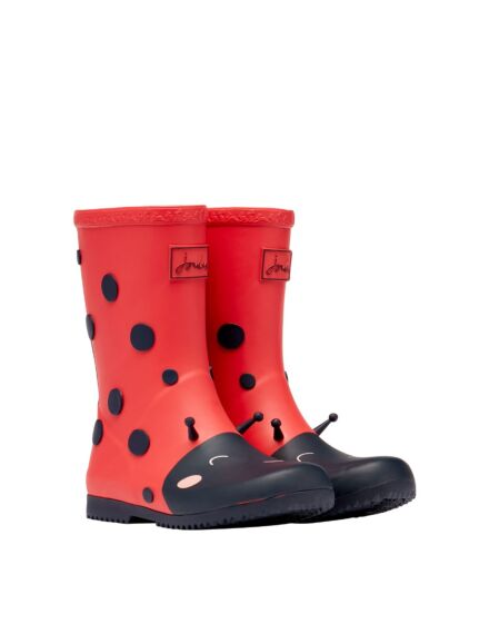 Joules JNR Printed Roll Up Wellies Red Ladybugs