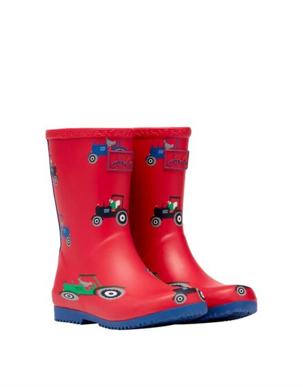 Joules JNR Flexible Printed Roll Up Wellies Red Tractor
