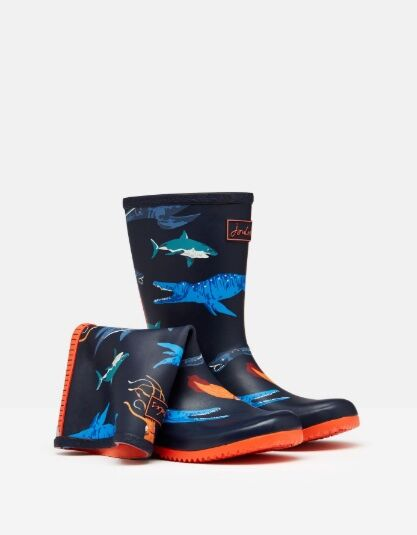 Joules Junior Roll Up Welly Navy Sea Monster