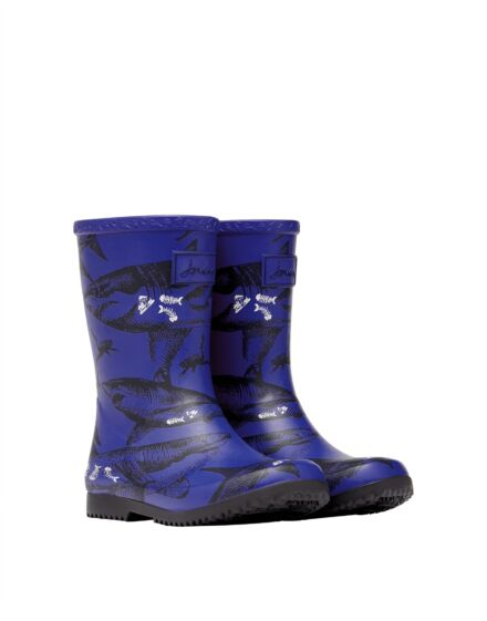 Joules JNR Printed Roll Up Wellies Blue Etched Sharks