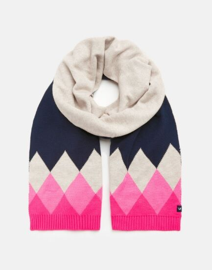 Joules Rothley Knitted Scarf Navy Pink Argyle