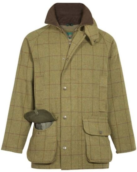 Alan Paine Rutland Mens Tweed Waterproof Shooting Coat Lichen