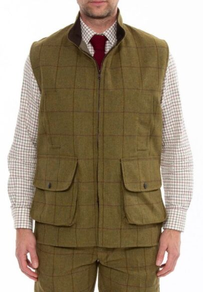 Alan Paine Rutland Mens Tweed Shooting Waistcoat Lichen