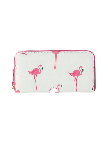 Sophie Allport Flamingos Oilcloth Zipped Wallet Purse