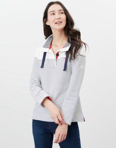 Joules Saunton Funnel Neck Sweatshirt Cream French Navy Stripe