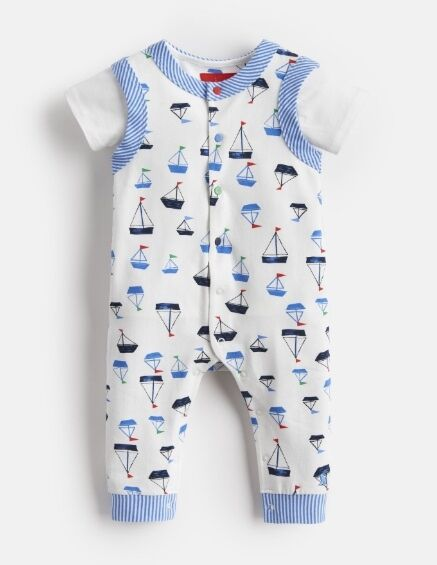 Joules Baby Saylor Jersey Babygrow And T Shirt Set White Drawn Boats