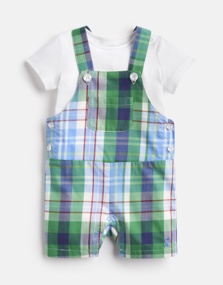 Joules Baby Duncan Woven Dungaree And T-Shirt Set Blue Multi Check