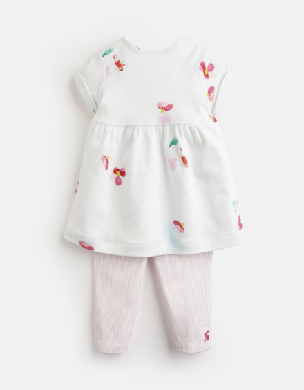 Joules Baby Seren Jersey Printed Dress And Legging Set White Fairy Floral