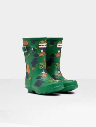 Hunter Original Little Kids Peter Rabbit Wellies Sea Fern Green