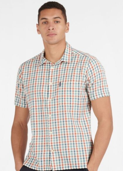 Barbour Seersucker 7 Short Sleeve Shirt Aqua