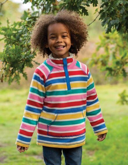 Frugi Snuggle Fleece Rainbow Multi Stripe
