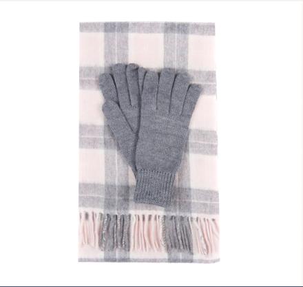 Barbour Wool Tartan Scarf & Glove Set Pink/Grey Tartan