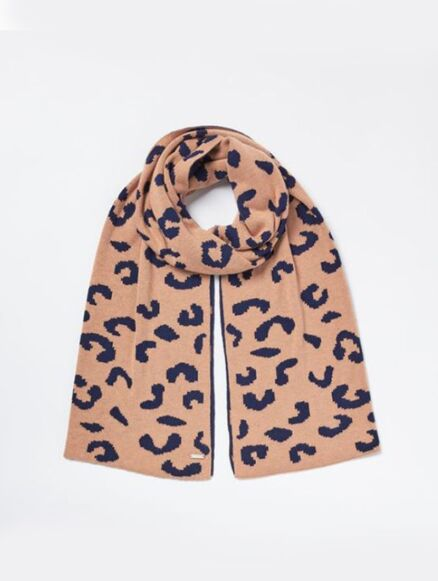Joules Spotwell Leopard Shawl Camel Marl