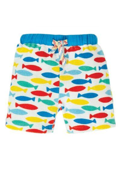 Frugi Little Towelling Shorts Rainbow Fish