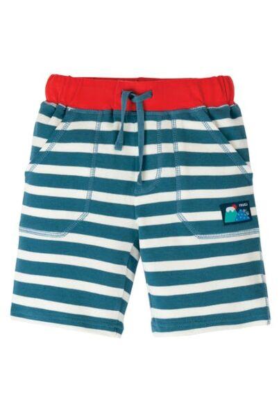 Frugi Stripey Shorts Steely Blue Stripe