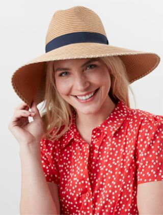 Joules Sia Wide Fedora Sun Hat French Navy