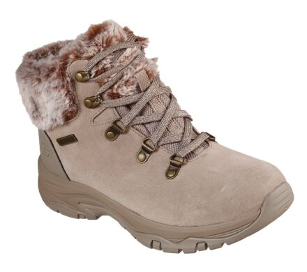 Skechers Trego Lace Up Faux Fur Cuff Boot Taupe