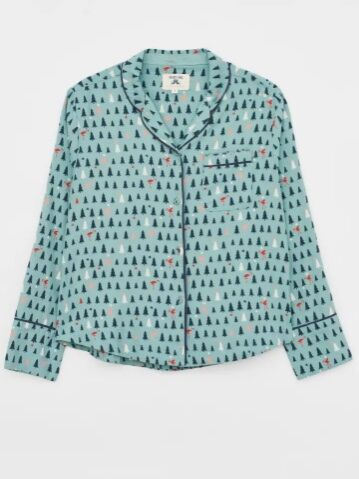 White Stuff Skylar Woven PJ Shirt Duck Egg Blue