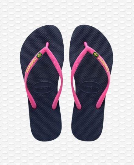Havianas Slim Brasil Flip Flops Navy