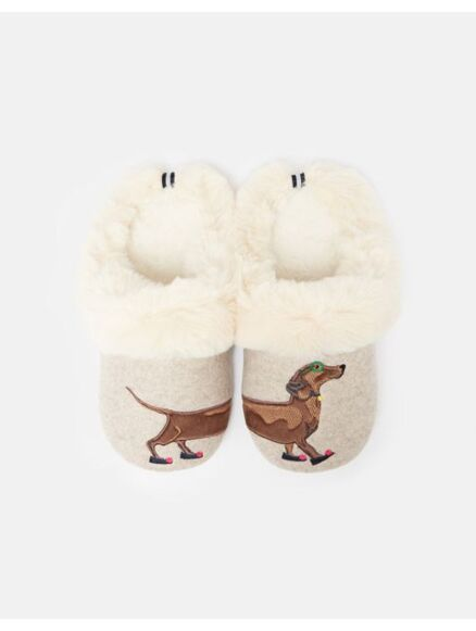 Joules Slippet Luxe Slippers Sausage Dog