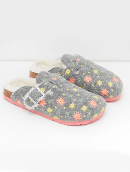 White Stuff Star Embroidered Closed Slippers Grey Multi