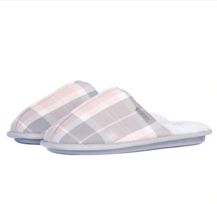 Barbour Maddie Mule Slippers Recycled Pink/Grey Tartan
