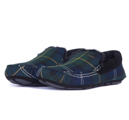 Barbour Monty Moccasin Slippers Recycled Seaweed Tartan