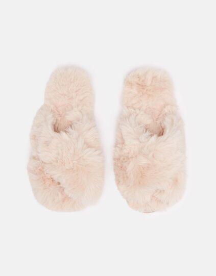Joules Slumber Faux Fur Slider Soft Pink
